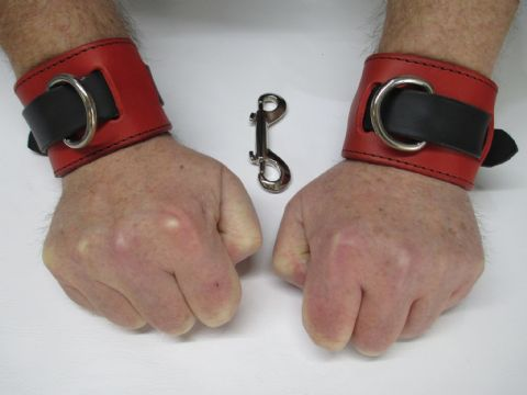 Pair of Heavy Duty Classic Red/Black Design Restraint Cuffs